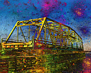 Swing Digital Art Prints - Vibrant Bridge Print by Betsy A Cutler East Coast Barrier Islands