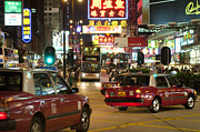 Nathan Road Prints - Vibrant City at Night Print by Lana Enderle