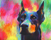 Cities Pastels Prints - Vibrant Doberman Pincher dog painting Print by Svetlana Novikova