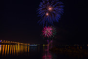 Pyrotechnics Prints - Vibrant Fireworks over the York River Print by James Drake