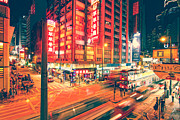 Matsu Framed Prints - Vibrant Hongkong City at Night Framed Print by Hakai Matsu