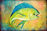 Gabriela Valencia Acrylic Prints - Vibrant Mahi Mahi  Acrylic Print by Gabriela Valencia