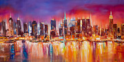 Skylines Painting Framed Prints - Vibrant New York City Skyline Framed Print by Manit