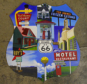 Restaurant Signs Paintings - Vibrant Route 66 by Sarah Vandenbusch