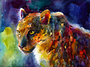 African Prints Paintings - Vibrant watercolor leopard wildlife painting by Svetlana Novikova
