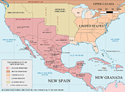 Maps Paintings - ViceRoyalty of new Spain  1819 by Pg Reproductions