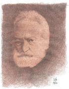 Author Drawings Metal Prints - Victor Hugo Metal Print by Steve  Hockenyos