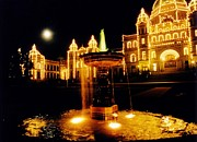 John Malone Halifax Artist Posters - Victorain Fountain at Night Poster by John Malone