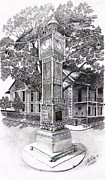 Historical Buildings Drawings Prints - Victoria Clock Tower Print by Jimmy McAlister