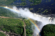Aidan Moran Photographs Framed Prints - Victoria Falls Rainbow Framed Print by Aidan Moran