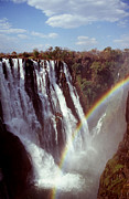 Zambia Waterfall Metal Prints - Victoria Falls Rainbow Metal Print by Stefan Carpenter