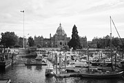 Docked Boats Photo Prints - Victoria Harbour with Parliament Buildings - Black and White Print by Carol Groenen