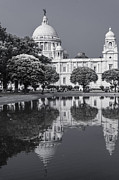 Monochrome Pyrography Posters - Victoria Memorial Reflection of the Past Poster by Debrup Chatterjee