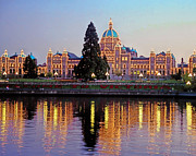 Harbour Mixed Media Prints - Victoria Night Lights - Parliament Buildings Inner Harbour Vancouver Island  Print by Alex Khomoutov