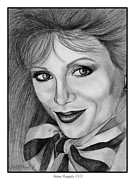 Grey Drawings Framed Prints - Victoria Principal in 1983 Framed Print by J McCombie