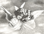 Sisters Drawings - Victorian Angels by Vicki Knoll