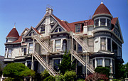 Red Roof Photo Originals - Victorian at Fell and Steiner  San Francisco 7 by Ron Javorsky