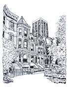 Homes Drawings Posters - Victorian Chicago Homes Poster by Robert Birkenes