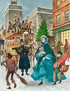 Police Christmas Card Paintings - Victorian Christmas Scene by Peter Jackson
