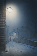 Foggy Street Scene Acrylic Prints - Victorian Cobbled Street At Night With Gas Lamps Lit Acrylic Print by Lee Avison