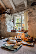 Curtain Digital Art Prints - Victorian Cottage Breakfast v.2 Print by Adrian Evans