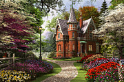 Mansion Prints - Victorian Cottage in Bloom Print by Dominic Davison