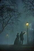 Hurricane Lamps Prints - Victorian Couple At Night Print by Lee Avison