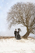 Men Conversing Framed Prints - Victorian Couple Beneath A Tree In Winter Framed Print by Lee Avison