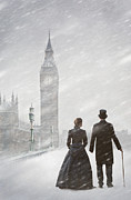 Husband Waiting Framed Prints - Victorian Couple In London Snow Storm Framed Print by Lee Avison