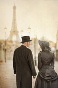 Husband Waiting Framed Prints - Victorian Couple In Paris Framed Print by Lee Avison