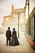 Husband Waiting Framed Prints - Victorian Couple In Town Framed Print by Lee Avison