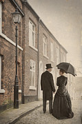Husband Waiting Framed Prints - Victorian Couple On A Cobbled Street Framed Print by Lee Avison