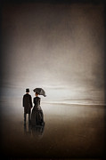 Men Conversing Framed Prints - Victorian Couple On The Beach Framed Print by Lee Avison