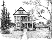Ink Drawing Prints - Victorian Farmhouse Pen and Ink Print by Renee Forth Fukumoto
