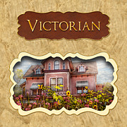 Old Houses Framed Prints - Victorian Houses button Framed Print by Mike Savad