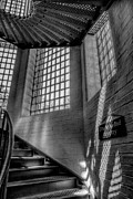 Black And White Digital Art Posters - Victorian Jail Staircase v2 Poster by Adrian Evans