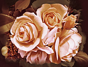 Peach Rose Posters - Victorian Ladies Rose Flower Bouquet Poster by Jennie Marie Schell