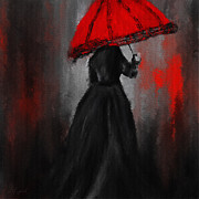 Lady With Red Umbrella Framed Prints - Victorian Lady With Parasol Framed Print by Lourry Legarde