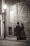 Husband Waiting Framed Prints - Victorian Man And Woman By Street Light Framed Print by Lee Avison