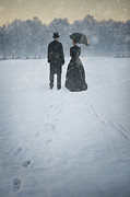 Husband Waiting Framed Prints - Victorian Man And Woman In Snow Framed Print by Lee Avison