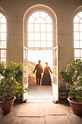 Flagstones Prints - Victorian Man And Woman Leaving A Conservatory Print by Lee Avison