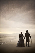 Men Conversing Framed Prints - Victorian Man And Woman On The Beach Framed Print by Lee Avison