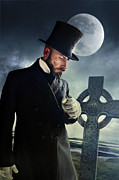 Sandra Cunningham - Victorian man holding knife with moon and grave in background