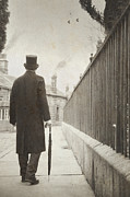 Flag Stones Posters - Victorian Man Walking Towards A Row Of Cottages Poster by Lee Avison