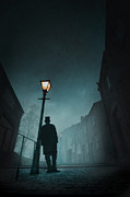 Victorian Man With Top Hat Leaning On A Street Light Print by Lee Avison