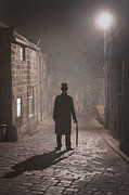 Foggy Street Scene Acrylic Prints - Victorian Man With Top Hat On A Cobbled Street At Night In Fog Acrylic Print by Lee Avison