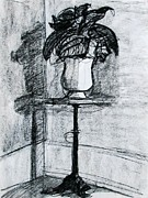 Interior Still Life Drawings Metal Prints - Victorian Plant Stand Metal Print by Anita Dale Livaditis