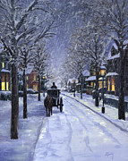 Night Scene Painting Prints - Victorian Snow Print by Alecia Underhill
