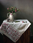 Victorian Style Still Life With Pink Roses Print by Helen Tatulyan