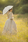 Jewellery Framed Prints - Victorian Woman In A Buttercup Meadow Framed Print by Lee Avison